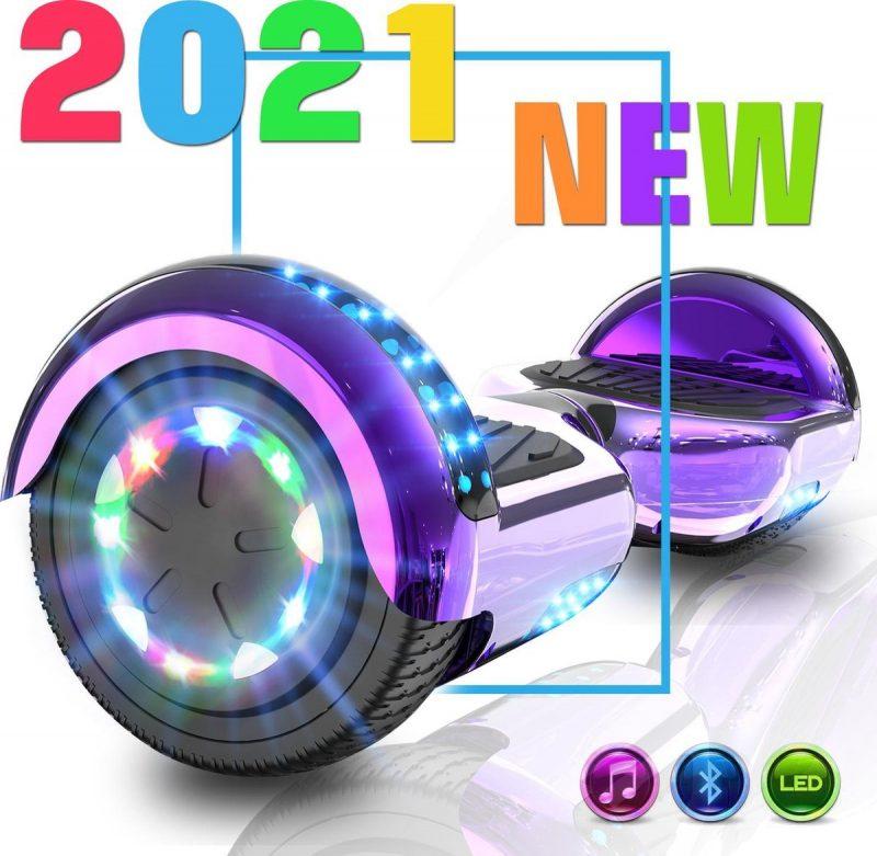 Hoverboard   Evercross   Bluetooth Speaker   Oxboard   LED verlichting   Paars Chroom
